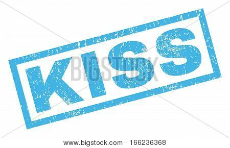 Kiss text rubber seal stamp watermark. Caption inside rectangular shape with grunge design and scratched texture. Inclined vector blue ink sticker on a white background.