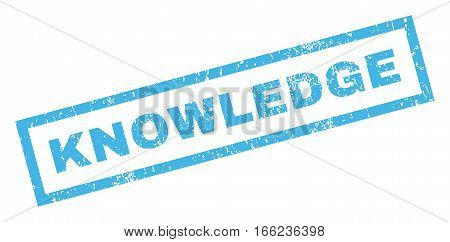 Knowledge text rubber seal stamp watermark. Tag inside rectangular shape with grunge design and dirty texture. Inclined vector blue ink sticker on a white background.