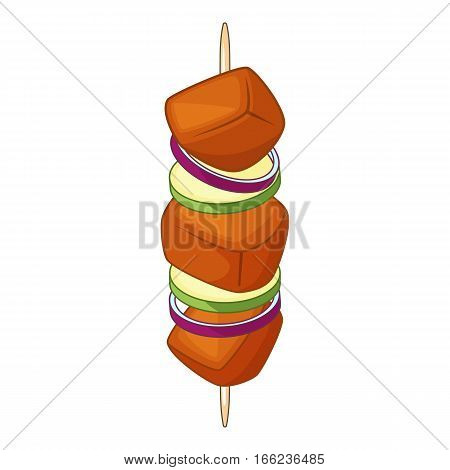 Barbecue kebab on a skewer icon. Cartoon illustration of barbecue kebab on a skewer vector icon for web design