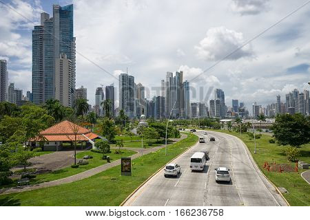 June 23 2016 Panama City Panama: Cinta Costera way in the downtown of Panama