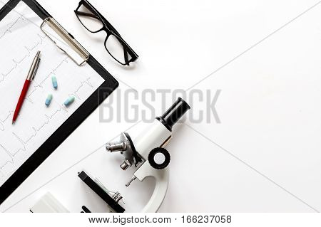 workplace lab assistant at the clinic top view no one mock up