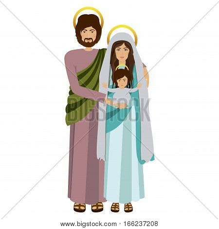 picture of sacred family standing vector illustration