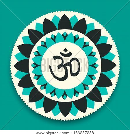 Vector Lotus Mandala with Om (Hindu Word) Symbol Illustration