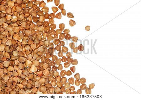 Buckwheat seeds border on white background details