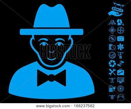 Spy icon with bonus uav service symbols. Vector illustration style is flat iconic blue symbols on black background.