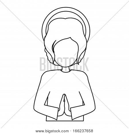 silhouette half body picture young jesus vector illustration