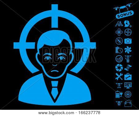 Victim Businessman pictograph with bonus uav tools pictograph collection. Vector illustration style is flat iconic blue symbols on black background.