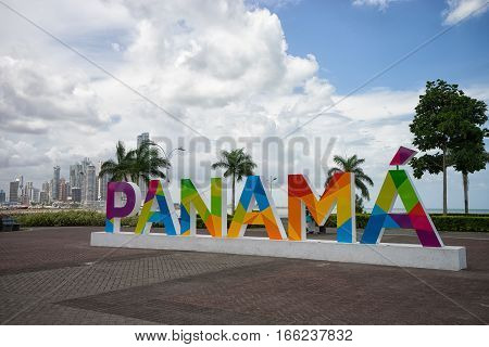June 23 2016 Panama City Panama: the Panama sign on the Cinta Costera way inaugurated recently has become a popular photographic attraction for tourists