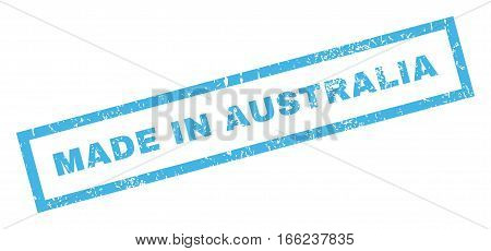 Made In Australia text rubber seal stamp watermark. Caption inside rectangular banner with grunge design and scratched texture. Inclined vector blue ink emblem on a white background.