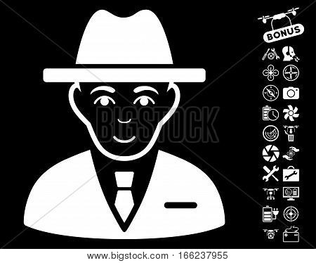 Agent pictograph with bonus copter tools pictograph collection. Vector illustration style is flat iconic white symbols on black background.