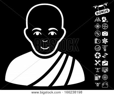 Buddhist Monk icon with bonus nanocopter tools pictograph collection. Vector illustration style is flat iconic white symbols on black background.