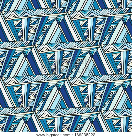 Abstract seamless vector pattern. Deep blue geometric background. Fashion texture for fabric or wrapping design.