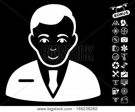 Businessman icon with bonus copter tools pictograms. Vector illustration style is flat iconic white symbols on black background.
