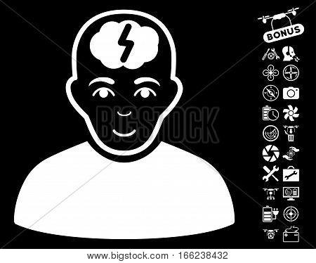 Clever Boy icon with bonus uav tools symbols. Vector illustration style is flat iconic white symbols on black background.