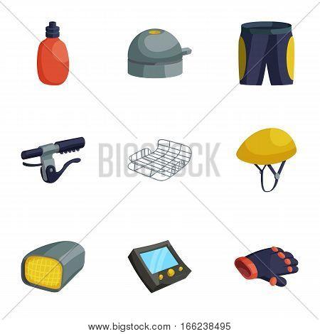 Biking accessories icons set. Cartoon illustration of 9 biking accessories vector icons for web