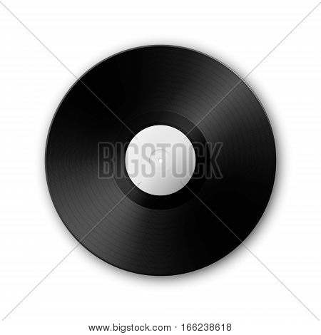 Realistic music gramophone vinyl LP record icon isolated on white background. Design template of retro long play. Vector EPS10 illustration.