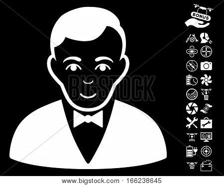 Dealer icon with bonus drone tools pictograph collection. Vector illustration style is flat iconic white symbols on black background.