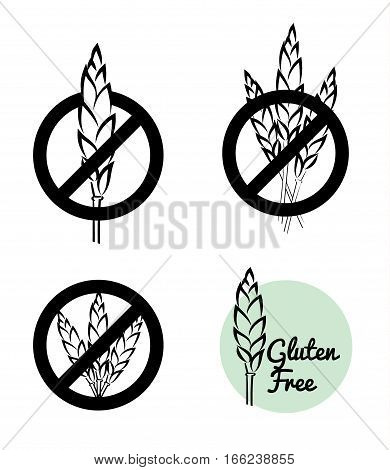 Vector Set Of Four Gluten Free Symbols With Banned Wheat Heads Icon Designs.