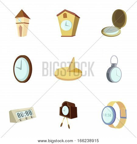 Clocks, time icons set. Cartoon illustration of 9 clocks, time vector icons for web
