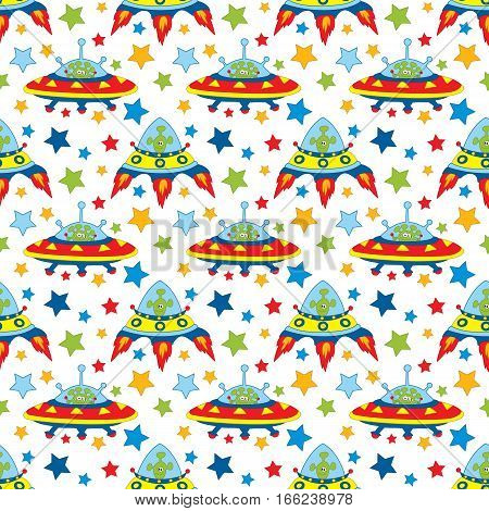 Vector seamless patter with unidentified flying object, alien and stars