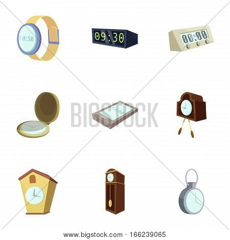 Different slyle of clock icons set. Cartoon illustration of 9 different slyle of clock vector icons for web
