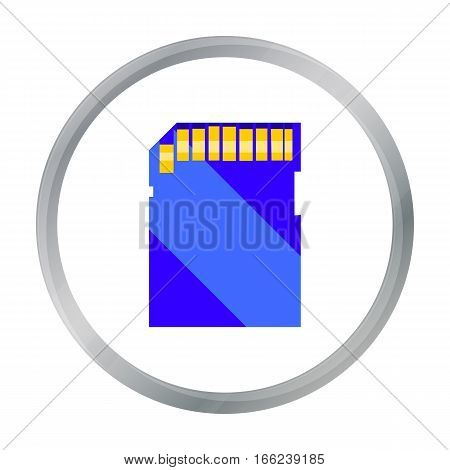 SD card icon in cartoon style isolated on white background. Personal computer symbol vector illustration. - stock vector