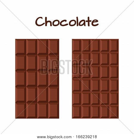 Milky dark chocolate cacao product in flat vector style. Sweet brown bar paackaging.