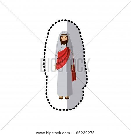 sticker of picture of christ with tunic vector illustration
