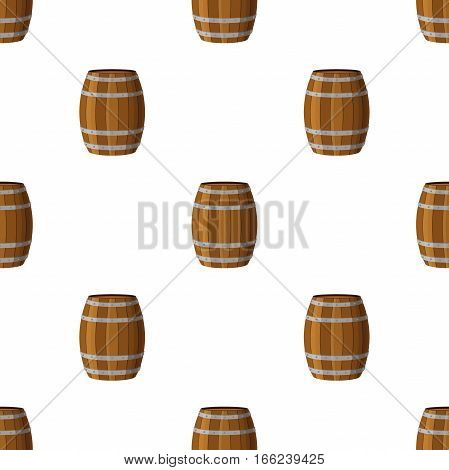 Barrels seamless pattern in flat style. Barrel with rum whiskey beer wine alcohol liquor