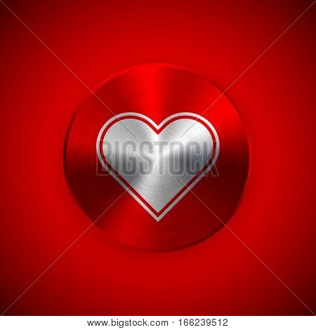 Red heart abstract circle badge, Valentines day technology button template with heart, metal texture, chrome, steel for design concepts, banners, web, prints. 14th february. Vector illustration