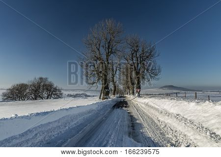 Winter road near Krasny Les village in north Bohemia