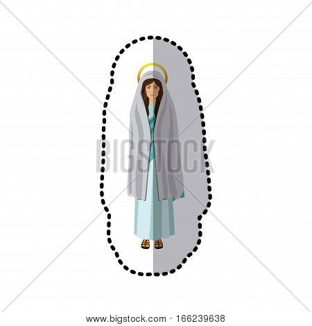 dotted sticker of saint virgin mary shading vector illustration