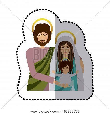 sticker half body picture medium shade of sacred family vector illustration