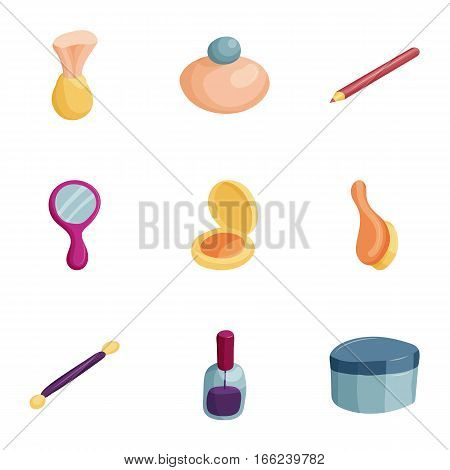 Makeup products icons set. Cartoon illustration of 9 makeup products vector icons for web
