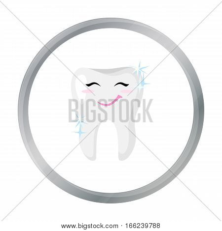 Smiling tooth icon in cartoon style isolated on white background. Dental care symbol vector illustration. - stock vector