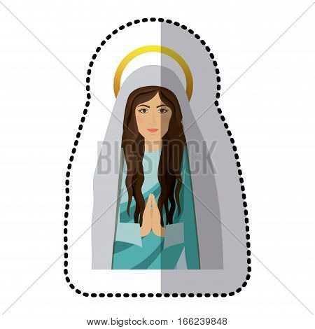sticker half body saint virgin mary praying shading vector illustration