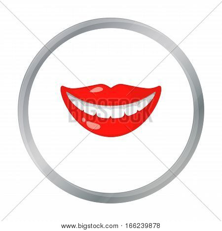 Smile with white teeth icon in cartoon style isolated on white background. Dental care symbol vector illustration.s - stock vector
