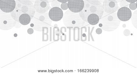 Vector Silver Grey Circles Dots Pattern Background With Fabric Texture. Perfect for neutral nursery, birthday, handmade themed designs. Surface pattern design.
