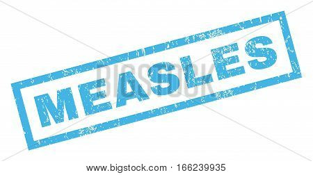 Measles text rubber seal stamp watermark. Caption inside rectangular banner with grunge design and scratched texture. Inclined vector blue ink sticker on a white background.