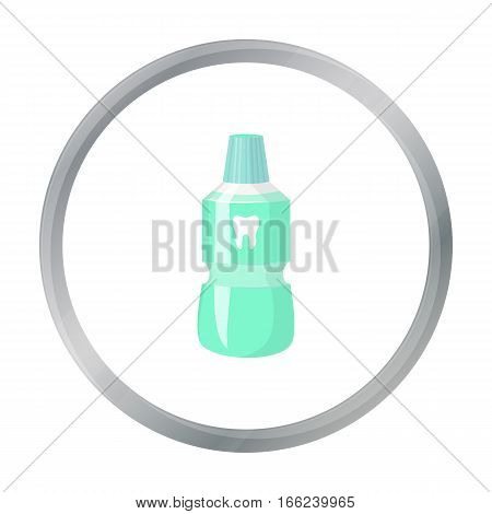 Bottle of mouthwash icon in cartoon style isolated on white background. Dental care symbol vector illustration. - stock vector