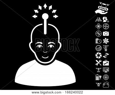 Optical Neural Interface pictograph with bonus flying drone service pictograph collection. Vector illustration style is flat iconic white symbols on black background.