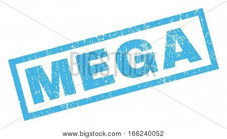 Mega text rubber seal stamp watermark. Caption inside rectangular shape with grunge design and scratched texture. Inclined vector blue ink sign on a white background.