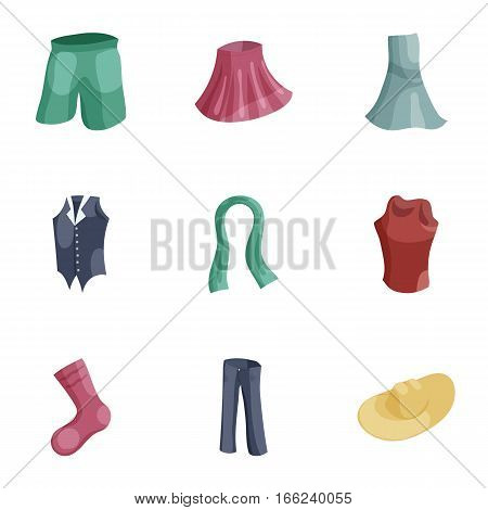 Woman wardrobe icons set. Cartoon illustration of 9 woman wardrobe vector icons for web