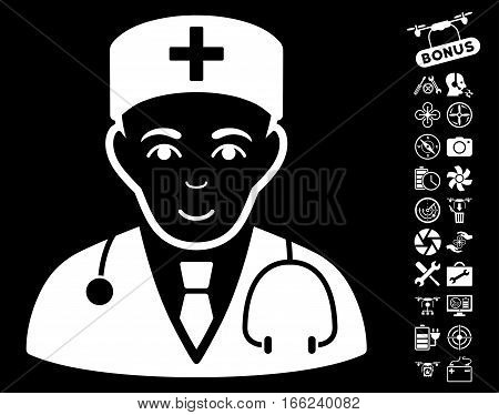 Physician pictograph with bonus airdrone service design elements. Vector illustration style is flat iconic white symbols on black background.