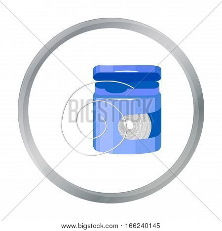 Dental floss icon in cartoon style isolated on white background. Dental care symbol vector illustration. - stock vector