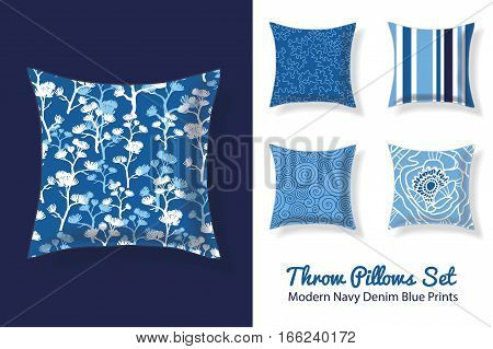 Set Of Throw Pillows In Matching Modern Denim Blueand Navy Patterns. Square Shape. Editable Vector Template. Surface Pattern Textile Design.