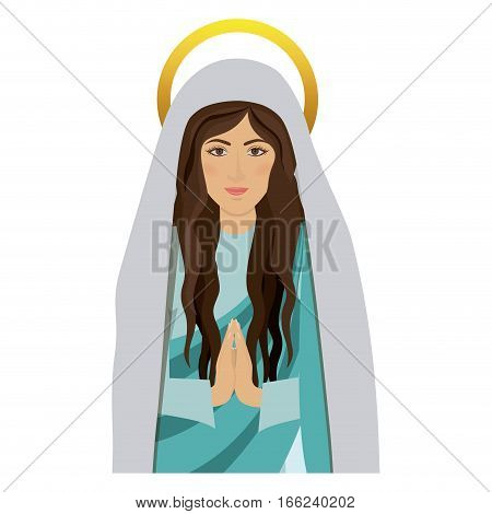 half body saint virgin mary praying vector illustration