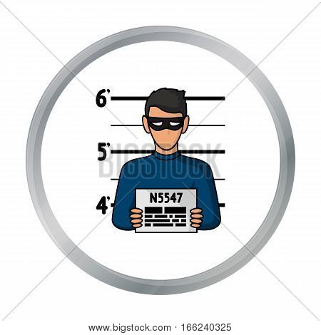 Prisoner's photography icon in cartoon style isolated on white background. Crime symbol vector illustration. - stock vector