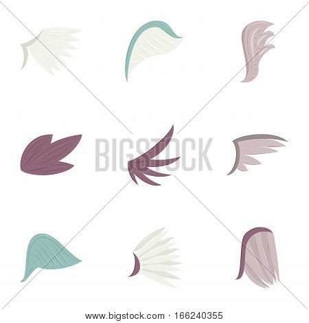 Bird wings icons set. Cartoon illustration of 9 bird wings vector icons for web