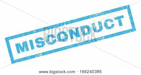Misconduct text rubber seal stamp watermark. Caption inside rectangular banner with grunge design and unclean texture. Inclined vector blue ink emblem on a white background.